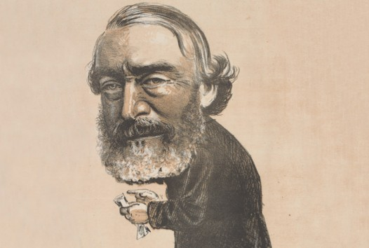 Caricature shows man with trimmed greying beard and moustache