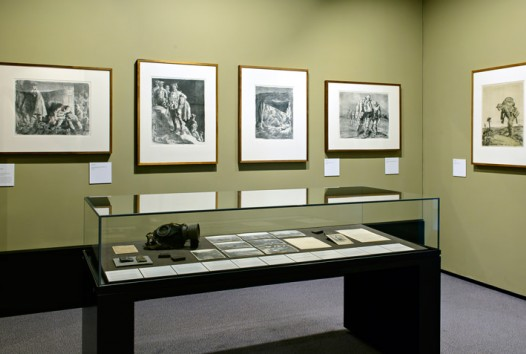 Display of war drawings in an gallery