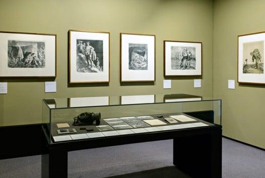 Display of war drawings in an gallery