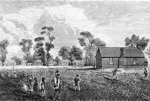 aboriginal settlement, with a cricket game in the foreground