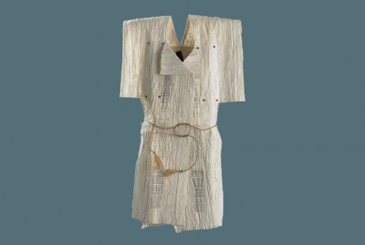 kimono-style vest fashioned from book pages