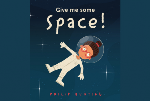 Blue book cover with a drawing of a child floating in space