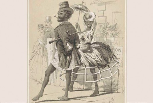 Engraving of black man and woman promenading, half in fine colonial dress and half with bare legs