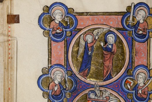 Illuminated manuscript showing meetings between angels and men