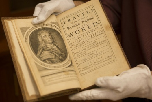 An open book of Jonathan Swift's Gulliver's travels