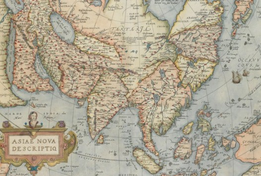 Hand-coloured map of Asia