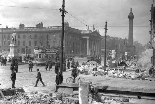 Rubble remains after shelling of Abbey Street and Sackville Street (O'Connell Street)