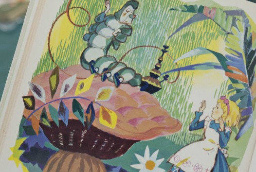 Vividly coloured illustration from Alice in Wonderland