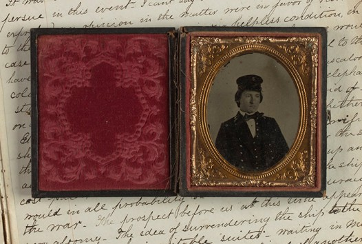 Antique hinged photographic case reveals B&W photo of a 19th-century US naval officer