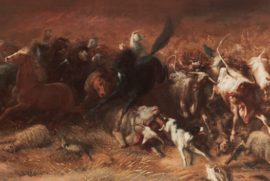 Detail of Black Thursday showing animals running away from the bushfire