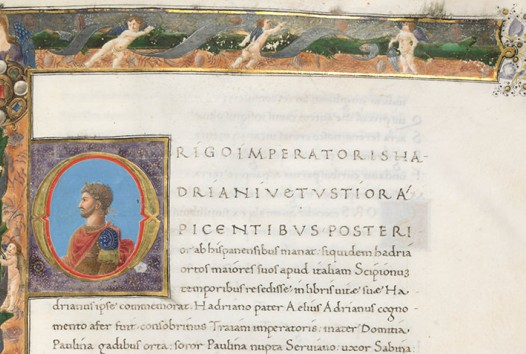 Cropped image of coloured Renaissance manuscript with portrait of Lorenzo de Medici in Roman toga in square set against border of putti and angels