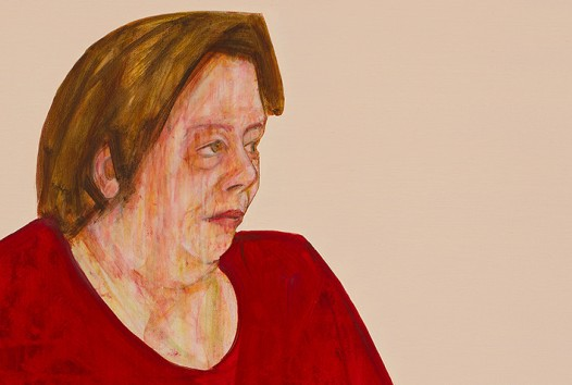 Painting of a woman with brown hair and a red shirt