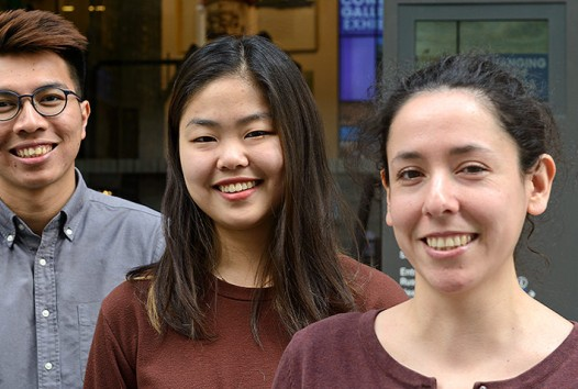 three young people in front of the Russell Street Welcome Zone