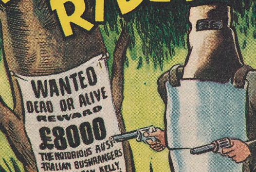 Detail from colour comic magazine The Kelly Gang rides, featuring Ned Kelly in his armour