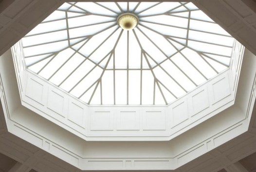Daylight streaming in through the cupola of the La Trobe Reading Room dome