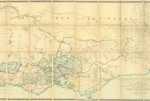 sepia 19th-century map of the colony of Victoria with the southern part of NSW