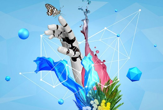 Illustration of geometric shapes spinning around a robot's hand holding a butterfly