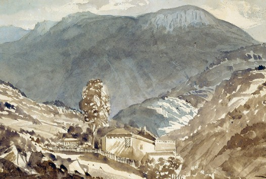 Watercolour of a small house in a valley with a mountain rising behind it