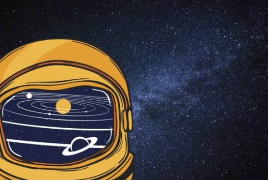 Illustration of space helmet on space background