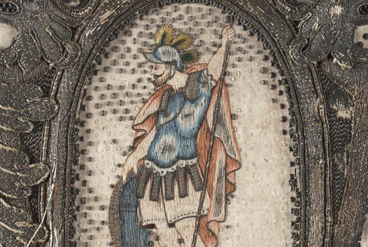 Colourful tapestry of a medieval knight in armour