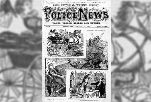 'Divorce court disclosures', cover page from 'Police News', 15 January 1876