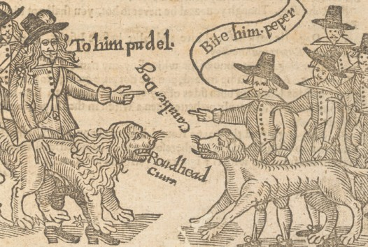 Woodblock illustration of opposing groups of men with dogs, ordering their dog to attack the other group's dog