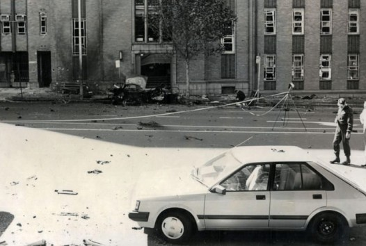 Photo of the aftermath of the Russell Street bombing