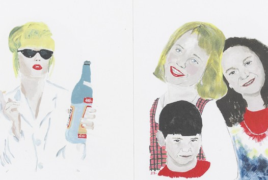 Painting of a blonde woman in sunglasses and three young people