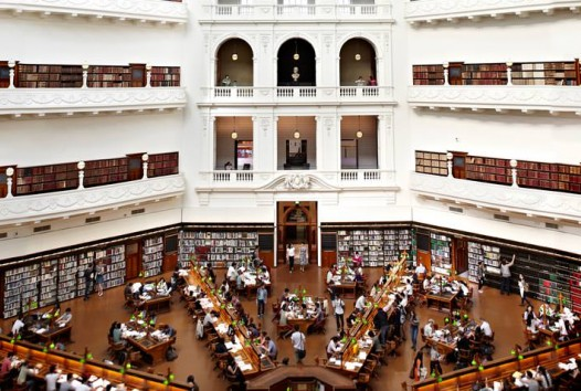 View from balcony overlooking La Trobe Reading Room, State Library Victoria