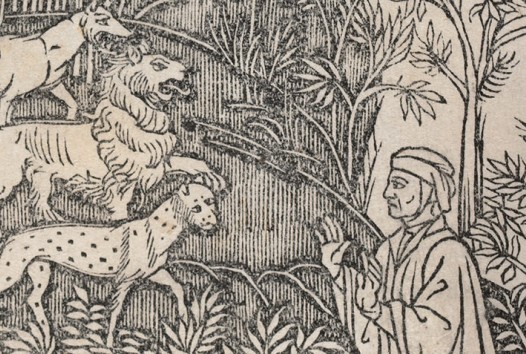 woodcut of a man in headdress talking to wild beasts