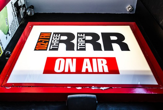 Photo of the 3RRR on air sign