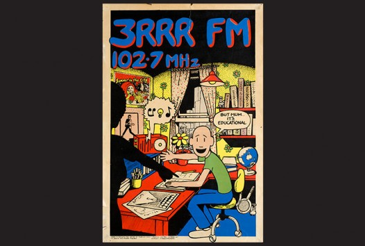 "3RRR poster showing a boy listening to 3RRR while telling his mum ""But Mum, it's educational!'"