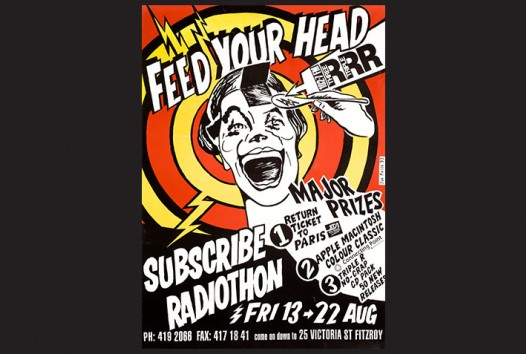 3RRR poster with the words 'Feed your head' and an illustration of a spoon going into a person's head