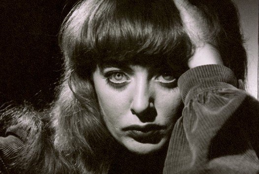 Black and white photograph of artist Vali Myers' face