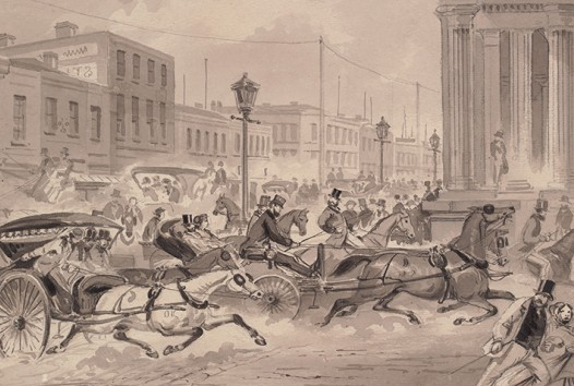 Coach parties turning into Bourke Street from Elizabeth Street, ST Gill, 1867