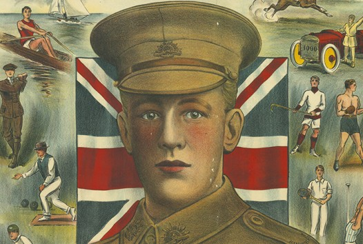 Poster with soldier's face for WWI enlistment