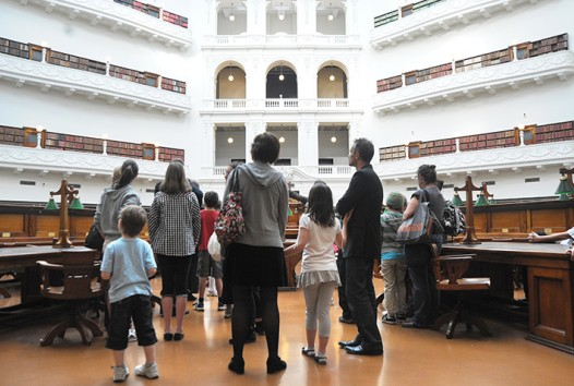 Photograph of a tour group in the La Trobe Reading Room
