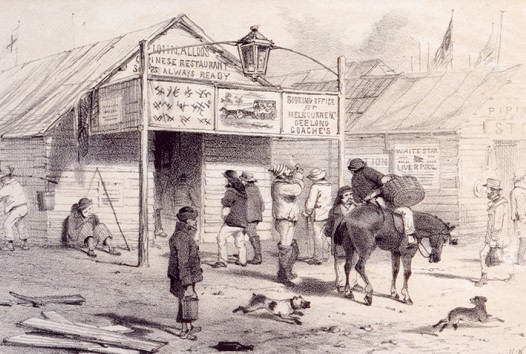ST Gill pen and ink drawing of the exterior of John Alloo's Chinese restaurant on the main road, Ballarat, with dogs, diggers and diners