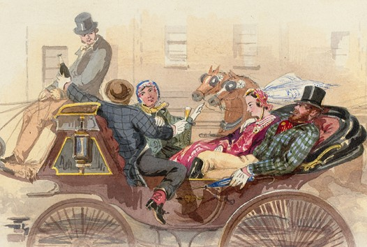 Shows wedding party in a carriage: the groom in a checkered coat and top hat with his arm around the bride wearing a red dress and veil, male attendant offering the carriage driver a bottle