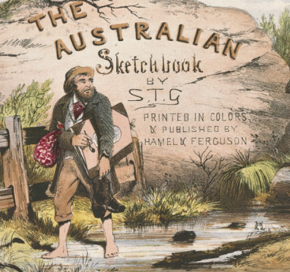 Australian sketchbook by ST Gill cover image of self-portrait carrying a folio and a snake at his feet
