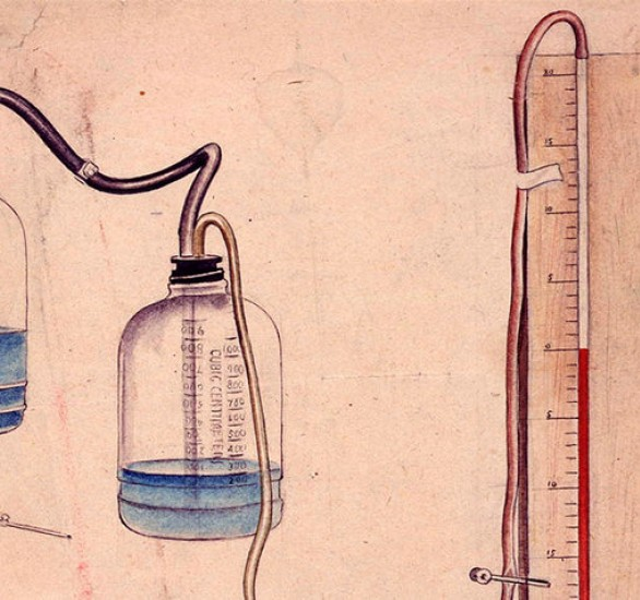 Watercolour artwork on pink background of bottles, rubber tubes, needles, clamps and scale