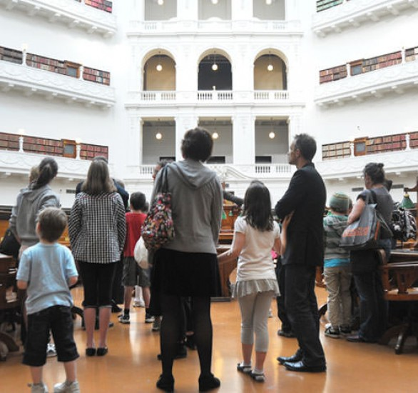 Tour group in the Domed reading room