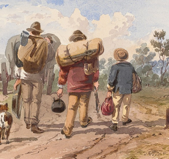 Watercolour painting by ST Gill shows rear view of men with swags, kettle and gun, one accompanied by a dog, all walking on a country road to the goldfields behind a laden horse and cart